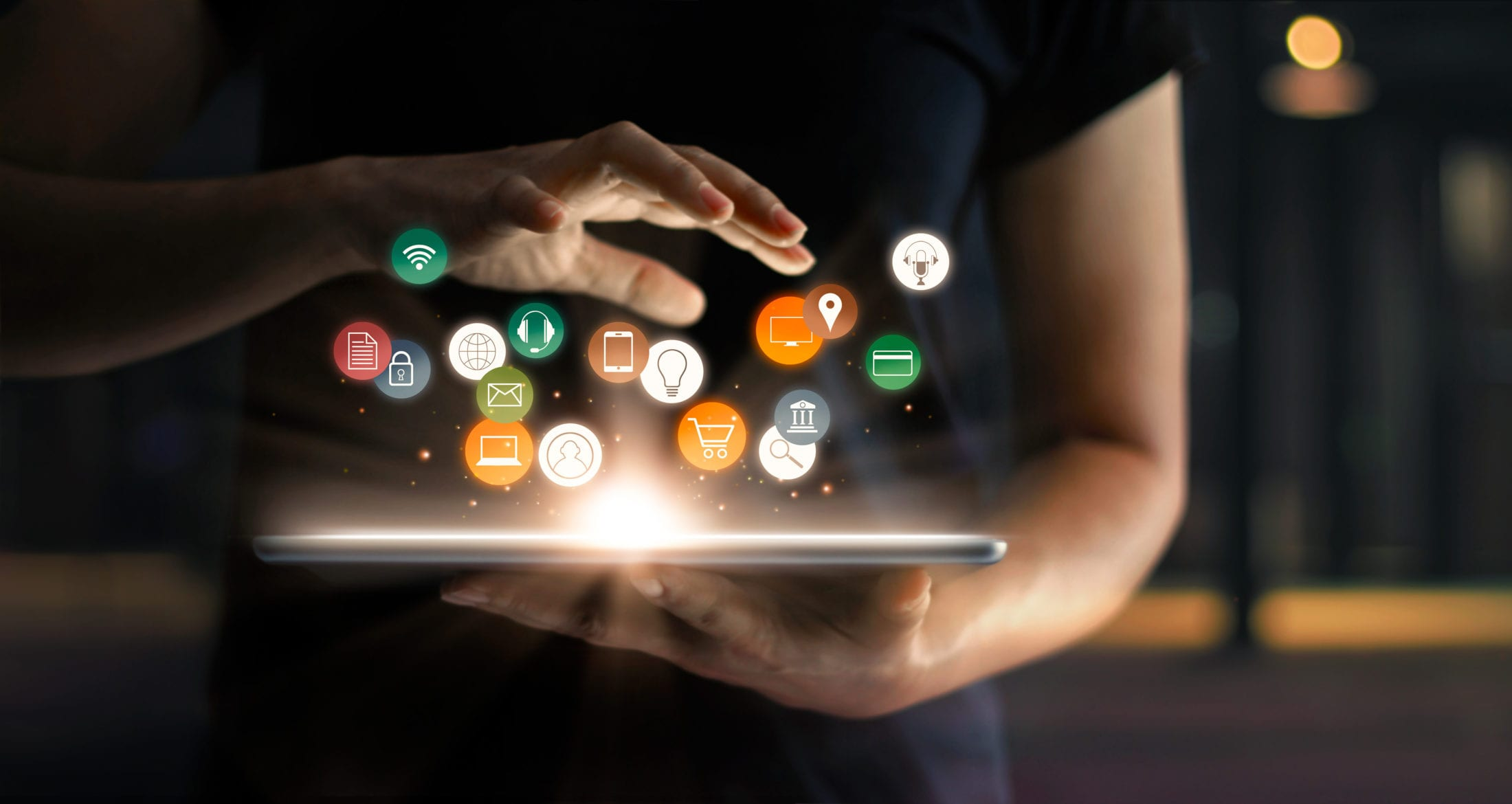 Digital online marketing commerce sale concept. Woman using tablet payments online shopping and icon customer network connection on hologram virtual screen, m-banking and omni channel..